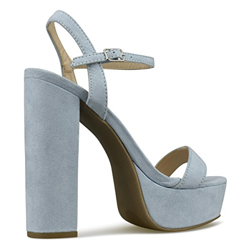 Strap Baby F Ankle Open Toe Platform Standard Heel High Premier Sandal Women's Dress Pump Chunky Party Blue Formal Heel gnwHxaA