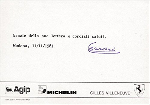 - Enzo Ferrari - Typed Note Signed 11/11/1981