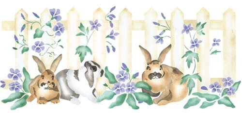 Bunnies with Fence Wall Stencil SKU #2162 by Designer Stencils