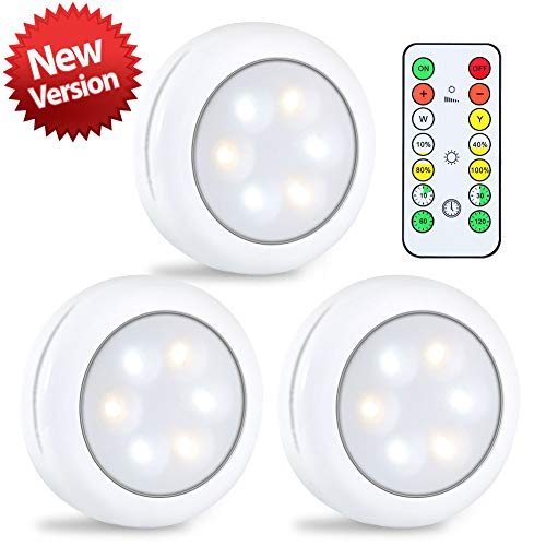 LUNSY Puck Lights 3AA Battery Operated, Wireless LED Puck Light with Remote, Cool White/Warm White Under Cabinet Lighting, 80lm Closet Lights - 3Pack