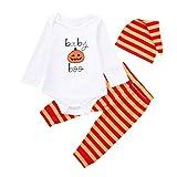 Newborn Autumn Romper Sets,Jchen(TM) Newborn Baby Boy Girl Cartoon Pumpkin Print Romper Striped Pants Cap Halloween Clothes Sets for 0-24 Months (Age: 12-18 Months)