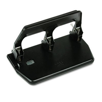 40-Sheet Heavy-Duty Three-Hole Punch, 9/32'''' Holes, Gel Pad Handle, Black, Sold as 1 Each