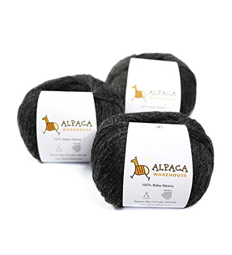 (100% Baby Alpaca Yarn Wool Set of 3 Skeins Lace Weight (Charcoal Gray))