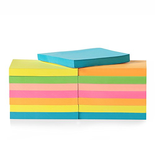 15-Pack Sticky Pad for Home & Office, 7.5 x 7.7cm Super Sticky Notes, Neon Sticky Pad for School, 80 Leaves/pad Sticky Notes for Reminders, Neon Colored Stickies Study Aids, Sticky Note