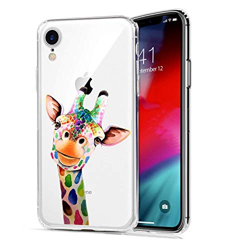 HUIYCUU Case Compatible with iPhone XR Case, Cute Animal Design Slim Fit Soft TPU Protective Cover Funny Pattern Thin Clear Skin Novelty Bumper Back Shell Smile Giraffe for iPhone XR 9