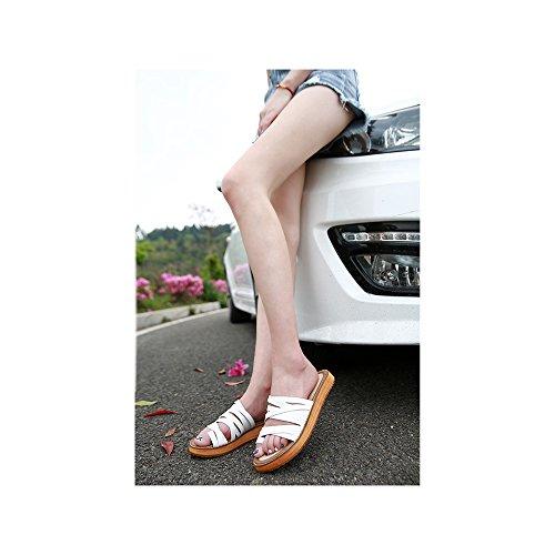 clip pie Calzado la playa de de Blanco dulce de mujer de abalorios sandalias Zapatos del Bohemia del ZwqrnZSO