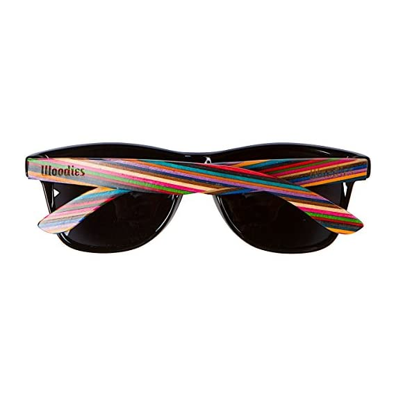 Woodies Rainbow Wood Sunglasses with Black Polarized Lenses 3 Handmade from Rainbow Wood (50% Lighter than Ray-Bans) Includes FREE Carrying Case, Lens Cloth, and Wood Guitar Pick Polarized Lenses Provide 100% UVA/UVB Protection