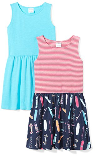 (Amazon Brand - Spotted Zebra Girls' Big Kid 2-Pack Knit Sleeveless Fit and Flare Dresses, Skate/Blue, XX-Large)