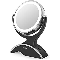 Makeup Vanity Mirror LED Lighted with 1X/7X Magnification, Anjou Makeup Magnified Mirror, Battery Powered, Removable, Double Side, 360° Rotation for Countertop Cosmetic Makeup with 3 Free Batteries