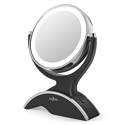 Makeup Mirror LED Lighted with 1X / 7X Magnification, Anjou Vanity Mirror Battery-Powered, Removable, Double Side, 360° Rotation for Countertop Cosmetic Makeup ()