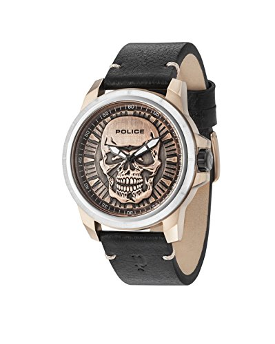 Police Men Watch Skull Design REAPER PL.14385JSTR/62 Bronze and Black + Free T-Shirt