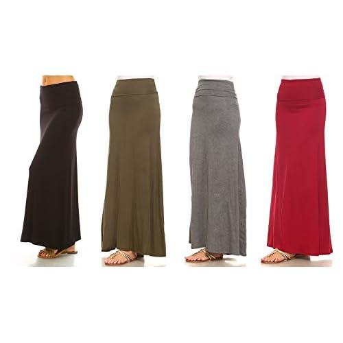 42a7d68159d9 Isaac Liev Women's 4-Pack Trendy Rayon Span Fold Over Maxi Skirt ...