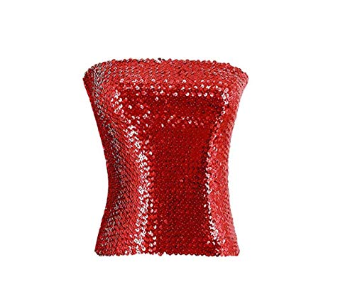 Women's Sparkling Sequins Tube Top Strapless Stretchy Tank Top Crop Top Sexy Bra Party Costume Clubwear