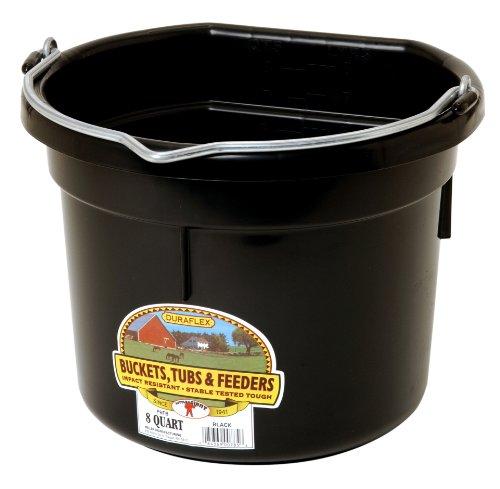 8 Quart Bucket (Miller Manufacturing P8FBBLACK Plastic Flat Back Bucket for Horses, 8-Quart, Black)