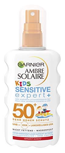 Garnier Ambre Solaire Kids Sensitive Expert+ Spray LSF 50+, Sonnencreme für Kinder, Wasserfester Sonnenschutz, 200 ml