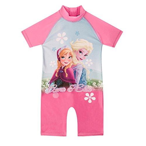 Disney Frozen Elsa Anna Official Gift Girls Kids Swim Surf Suit Pink 3-4 Years ()