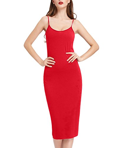 Women's Stretchy Lightweight Long Maxi Slip Undergarment (Red XL) -