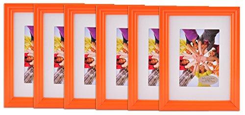 Gallery Perfect 6-Piece Vivid Frame Set, 5 by 7-Inch, Orange