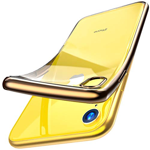 (TOZO for iPhone XR 6.1 Inch (2018) Premium Clear Soft TPU Gel Ultra-Thin [Slim Fit] Transparent Flexible Cover for iPhone XR with [Space Gold Plating Edge])