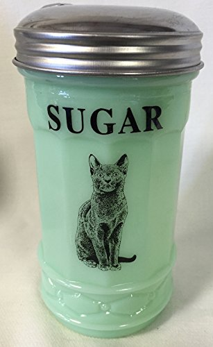 Jadeite Green Restaurant Style Sugar Shaker Dispenser - Black Cat