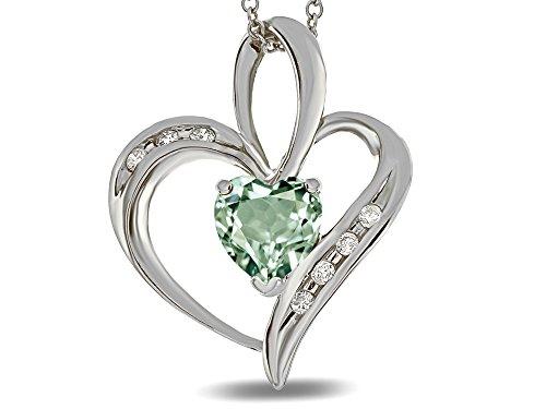 Star K Heart Shape 6mm Genuine Green Amethyst Pendant Necklace 10 kt White - Quartz Genuine Pendant Green