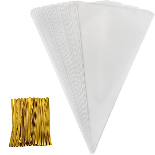 Outus 100 Piece Medium Transparent Cone Bags Clear Cello Bags Sweets Treat Bags with 100 Piece Gold Twist Ties, 11.8 by 6.3 Inch ()