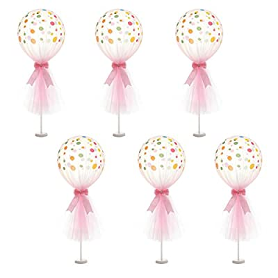 Suppromo 12 inch Party Latex Balloons With Column Base Kit for Baby Shower Birthday Wedding Party Decoration (6 Pack)