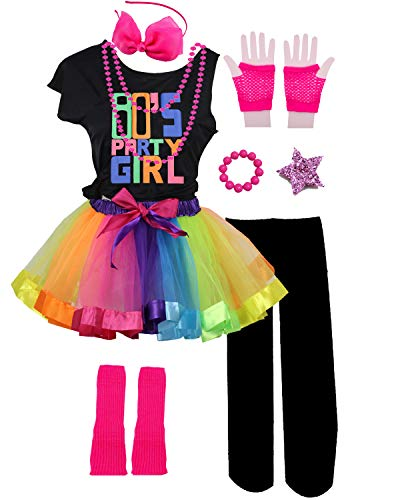 Kids 80s Party Girl Pop Rock Star Child Costume Accessories Fancy Outfits (7/8, ()