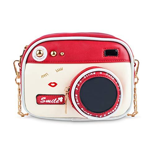 Women Camera Shape Design Bag, Ustyle Girl Fashion Novelty Unique Cute Crossbody Shoulder Bag (red)