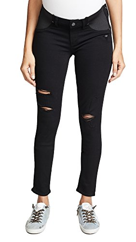 - PAIGE Women's Maternity Verdugo Ultra Skinny with Elastic Insets in Black Shadow Destructed, 25