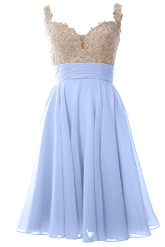 MACloth Women Straps Short Prom Dress Lace Chiffon Wedding Party Formal Gown Cielo azul