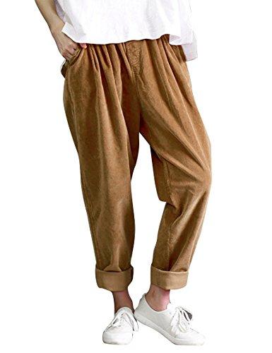 IDEALSANXUN Women's Retro Thick Corduroy Elastic Waist Loose Fit Casual Harem Pants Trousers (X-Large, Camel)