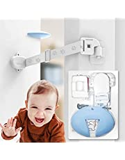 Neobay Child Proof Door Lock with Silicone Baby Door Stopper. No Need for Baby-Gate. Keep Toddler Out and Let Cat in. Prevents Finger Pinch Injuries and Slamming Doors.
