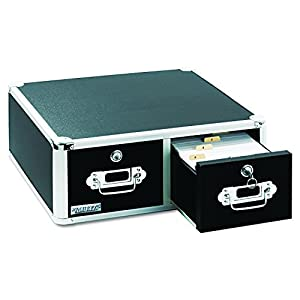 Vaultz Locking 4 x 6 Index Card Cabinet, Double Drawer, Black (VZ01395)