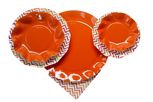 Sophistiplate Disposable Paper Plate Set, Vibrant Orange Chevron Pattern, for 8 Guests, 66 Pieces for holidays, bbq, parties, showers, and any special -