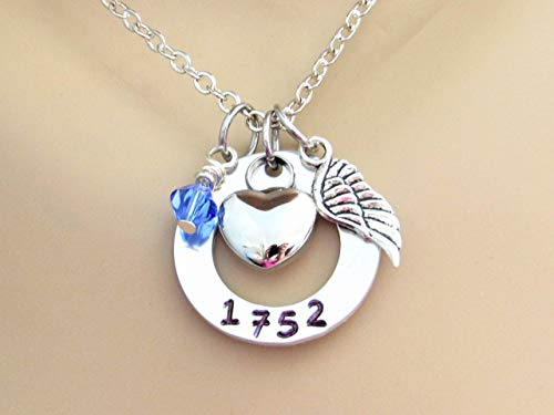 In Memory Of Cremation Necklace With Badge Number and Stainlees Steel Heart Urn, Silver Angel Wings and Swarovski Birthstone, Memorial Ash Urn Necklace, Fallen Police Officer ()