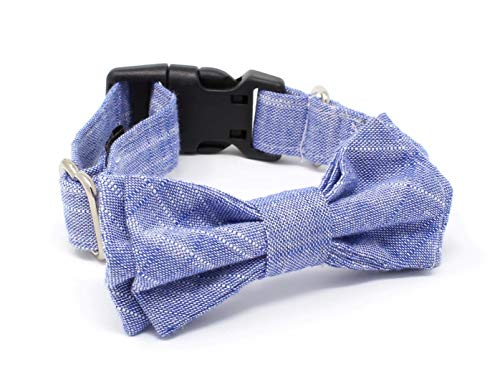 Dog and Cat Cotton Collar with Bow Tie - Textured Blue - Large