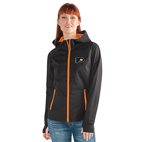 (GIII For Her NHL Philadelphia Flyers Women's Onside Kick Light Weight Full Zip Jacket, XX-Large, Black )