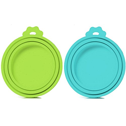 SLSON 2 Pack Pet Food Can Cover Universal Silicone Cat Dog Food Can Lids 1 Fit 3 Standard Size BPA Free and Dishwasher,Blue and Green