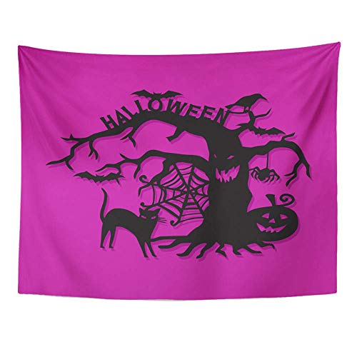 Remain Unique Tapestry Bats of Cut Silhouette Halloween Spooky Tree Cat Creepy Wall Hang Decor Indoor House Made in Soft