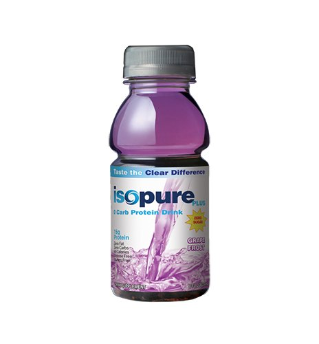 Isopure Plus 0 Carb Protein Drink Grape Frost, 8 ounces 6 Count  (Pack of 4)