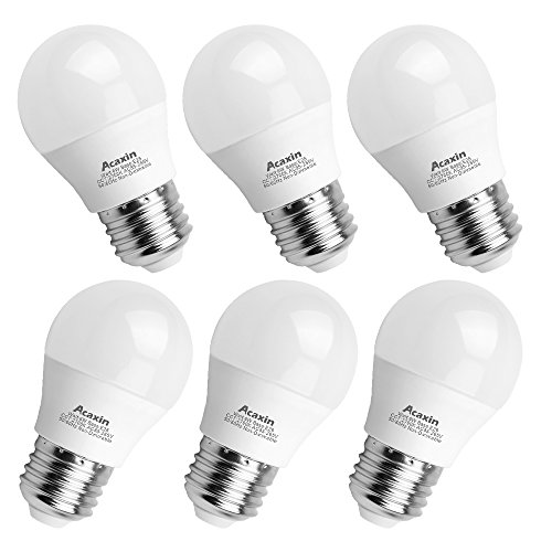 A15 LED Bulb,Acaxin A15 LED Lights 60 W Equivalent,E26 Medium Base Daylight 2700K Warm White 600 Lumen Non-Dimmable E26 LED Bulb for Home Lighting,6 Pack