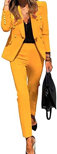 DYMADE Women's Two Piece Blazer and Pant Set, Double Breasted Long Sleeve Business Jacket Suit with Straight Pants
