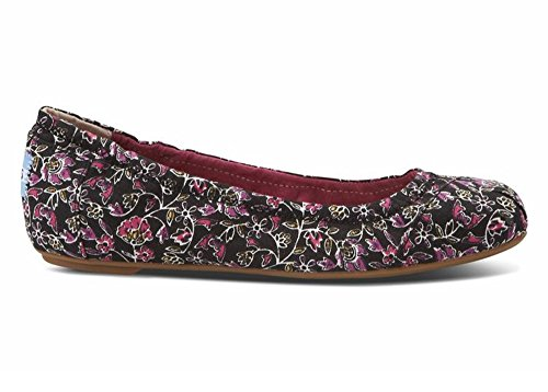 TOMS SHOES Women's Ballet Flat Shoes Black Floral 7.5B(M)US