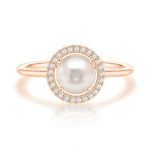 Mother Of Pearl Rose Ring - Swarovski Crystal 14K Rose Gold Plated Birthstone Rings | Rose Gold Rings for Women | Pearl Ring