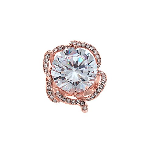 Gold Rose Cocktail Ring (Rose Flower Design Cocktail Rings Gold Plated Size 6 - 10 CZ Jewelry for women (Rose Gold, 6))