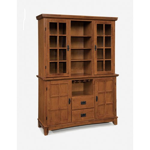 Home Style 5180-697 Arts and Crafts Buffet and Hutch, Cottage Oak Finish