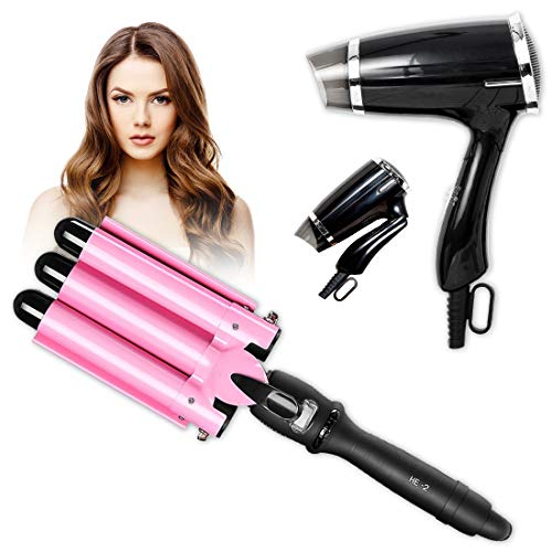 Hair Curling Wands 3 Barrel Hair Waver Hair Curler & Folding Hair Dryer Compact Blow Dryer Portable Professional Hair Dryer