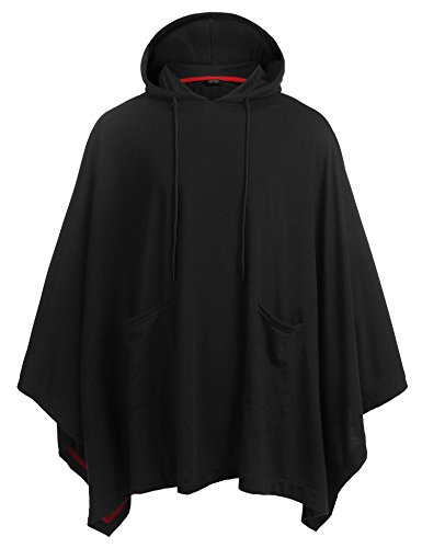 Coofandy Unisex Casual Hooded Cloak Poncho Cape Coat With Pocket,Small,Black -