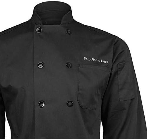 ChefsCloset Personalized Black Embroidered Chef Coat Customized Chef Jacket X-Large